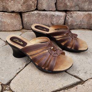 Clarks Leather Slide Sandals 8